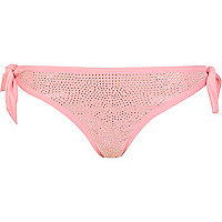 Pink diamante tie side bikini bottoms