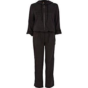 Black sequin hooded boiler suit