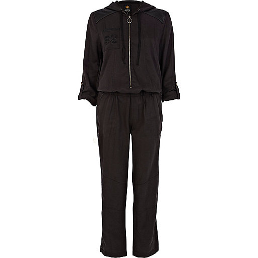 Black sequin hooded boiler suit