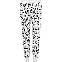 White Mickey Mouse print joggers