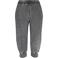 Grey diamante embellished cropped joggers