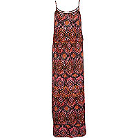 Orange tribal print waisted cami maxi dress