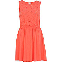 Coral broderie front sleeveless dress