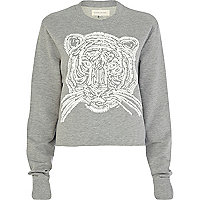 Grey Tiger print cropped sweatshirt