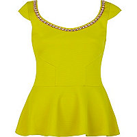 Lime studded trim peplum top