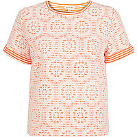 Pink fluro stripe lace t-shirt