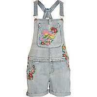 Light acid wash embroidered denim dungarees