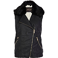 Black faux fur collar biker gilet