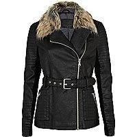 Black faux fur collar motocross jacket
