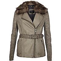 Grey faux fur collar motocross jacket