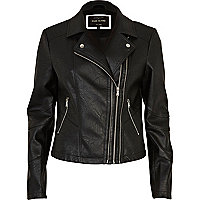 Black double zip biker jacket