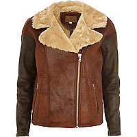 Brown two-tone oversized shearling jacket