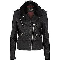 Black faux fur collar biker jacket