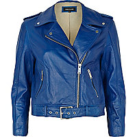 Cobalt blue belted leather biker jacket