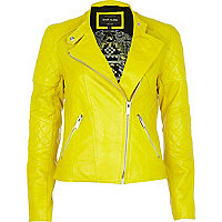 Bright yellow leather biker jacket