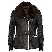 Black faux fur collar motocross jacket