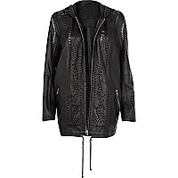Black leather laser cut hooded jacket