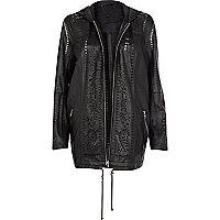 Black leather laser cut hooded jacket
