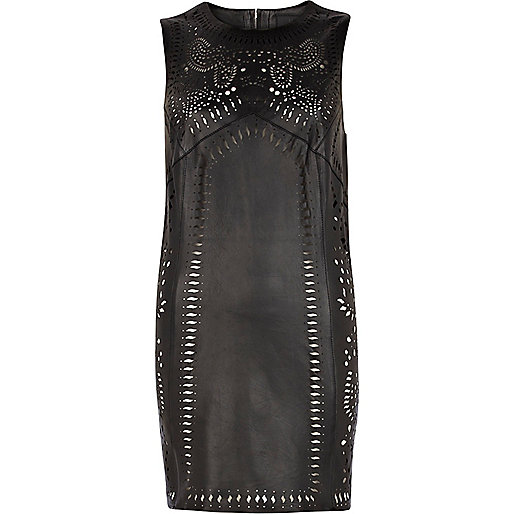Black leather laser cut out sleeveless dress
