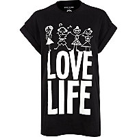 Black FTBC love life print oversized t-shirt
