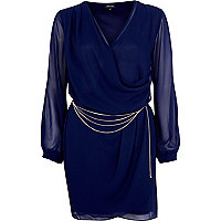 Navy sheer chain belt wrap dress