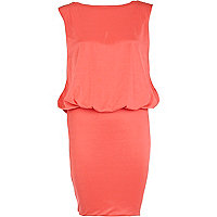 Coral draped embellished back dress