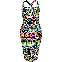 Pink tribal print cut out tube dress