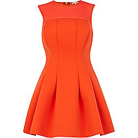 Orange scuba sleeveless prom dress