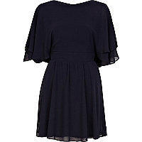 Navy layered sleeve skater dress