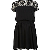 Black lace insert short sleeve dress