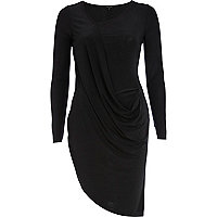 Black draped front wrap dress