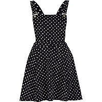 Navy heart print pinafore dress