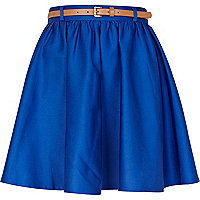 Bright blue belted skater skirt