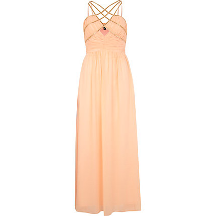 Coral Little Mistress cross strap maxi dress