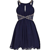 Navy Little Mistress embellished prom dress