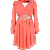 Coral Little Mistress embellished wrap dress