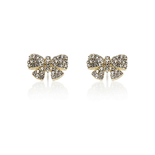 Gold tone diamante bow stud earrings