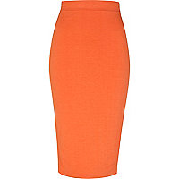 Orange double layered pencil skirt