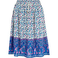 Blue cotton print block midi skirt
