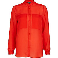 Red sheer collarless oversized shirt