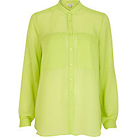 Lime sheer collarless oversized shirt