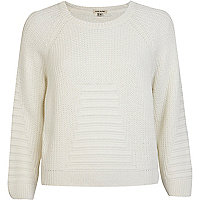 Cream rib geometric pattern cropped jumper