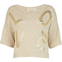 Beige Love foil print cropped jumper