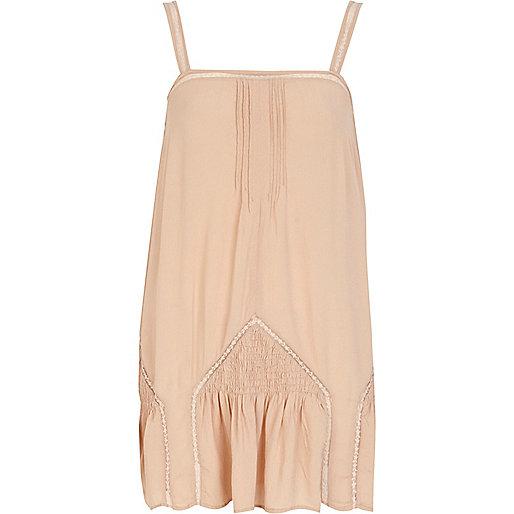 Light pink drop waist shirred cami top