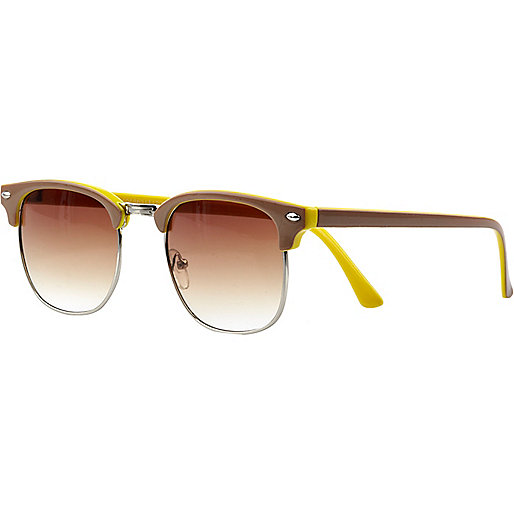 Beige two tone retro sunglasses