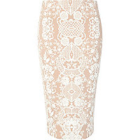 Beige symmetrical textured print pencil skirt