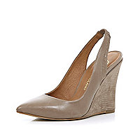 Beige pointed sling back wedges