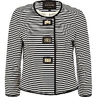 Navy and white stripe twist lock jacket