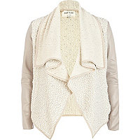 Cream boucle contrast sleeve waterfall jacket