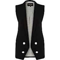 Black longline double breasted waistcoat